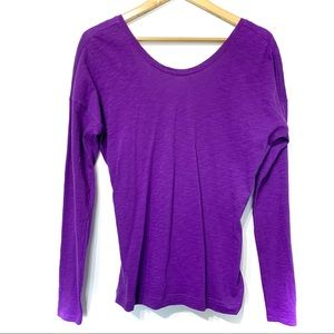 Lucy active wear yoga gym top open back purple tee